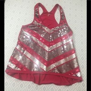 Bongo Striped Sequined Tank Top Racer Back